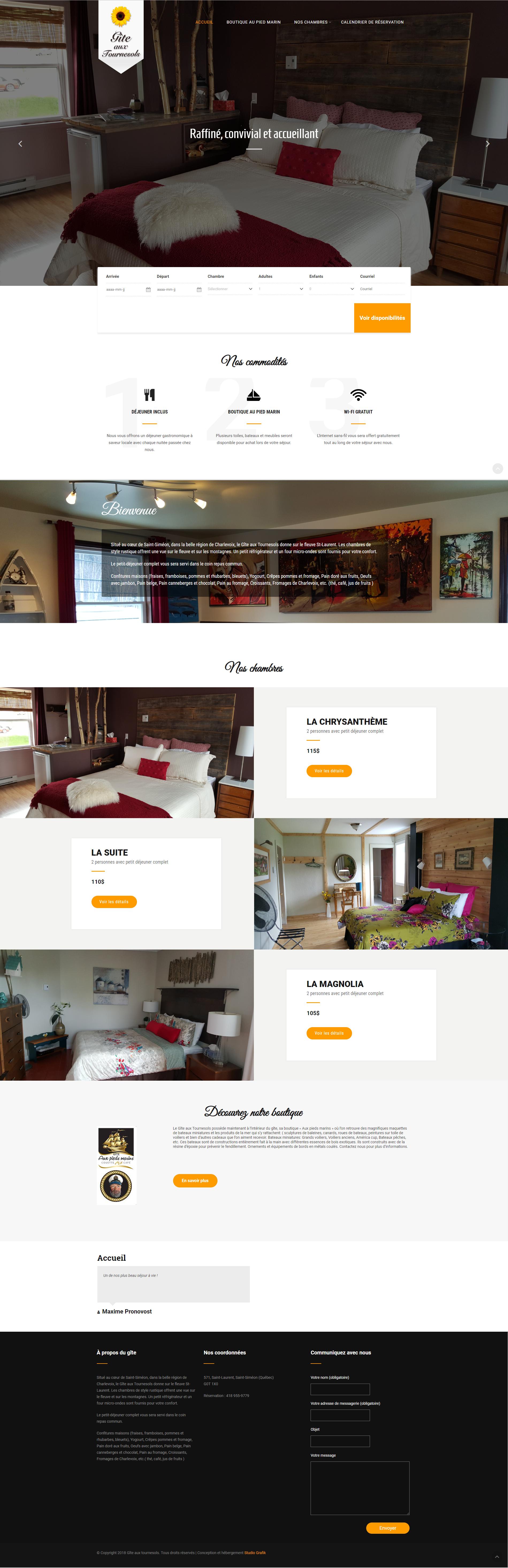 Site Web Gîte aux Tournesols