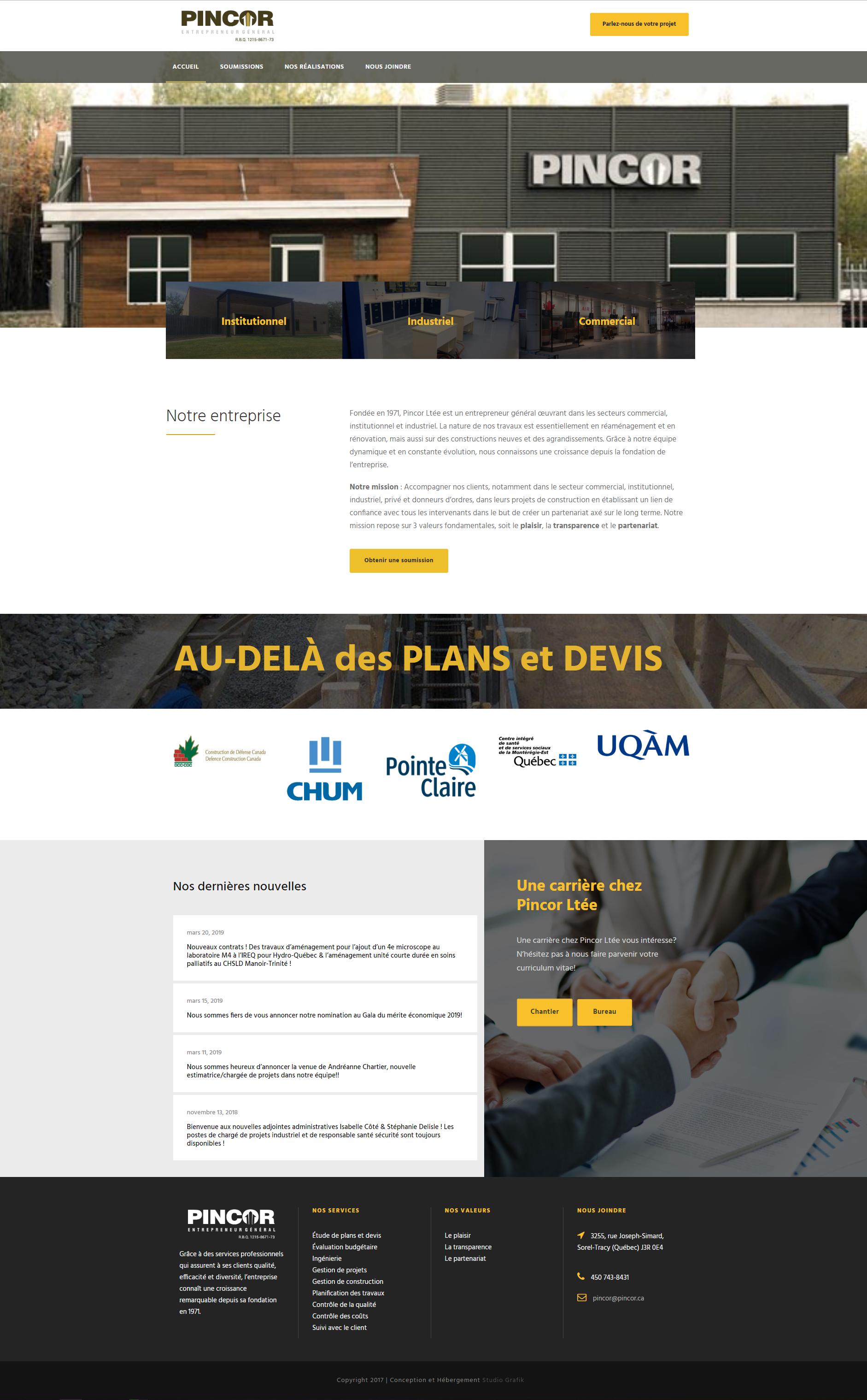Site Web Pincor Ltée