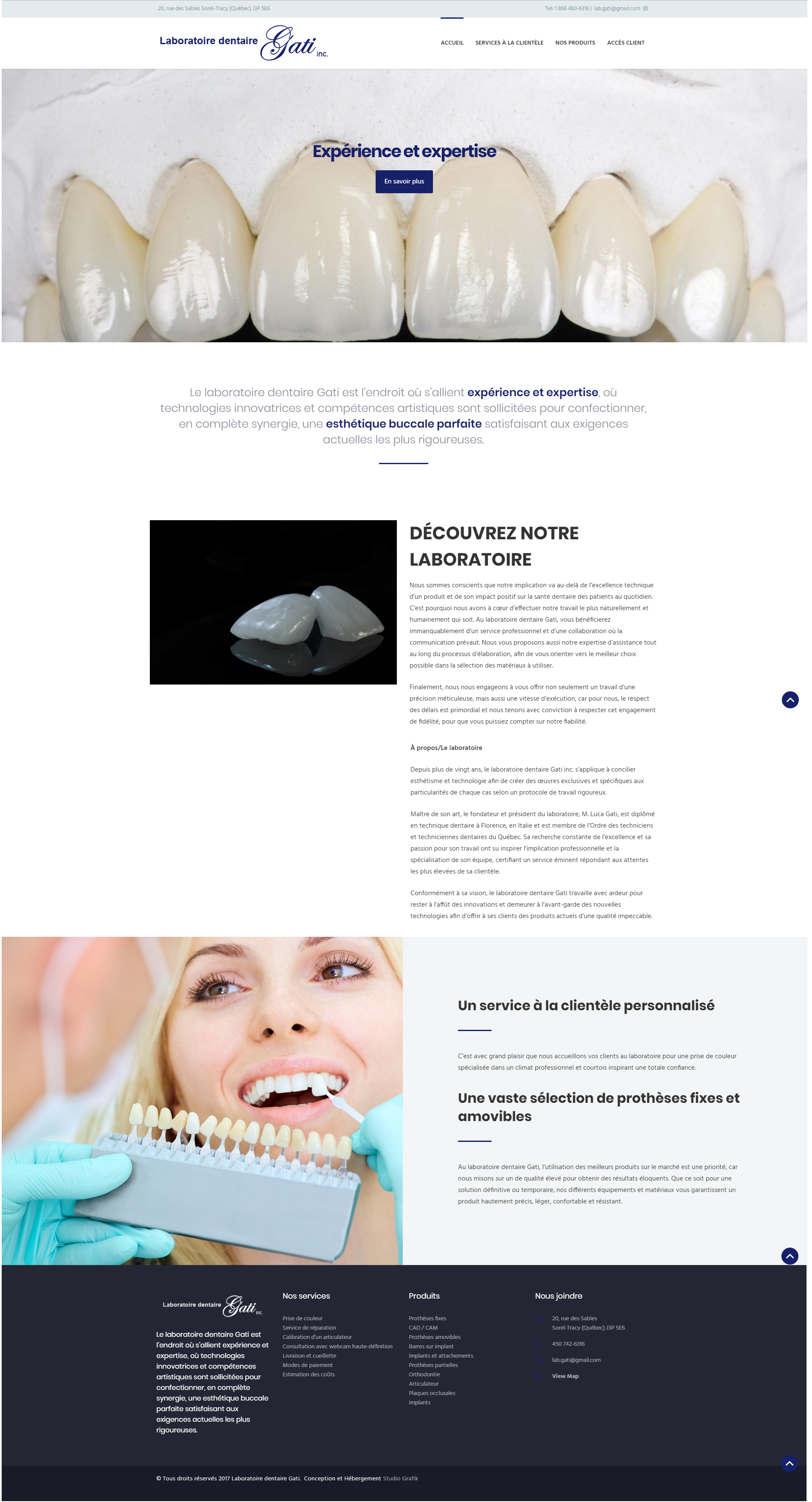 Site Web Laboratoire Dentaire Gati